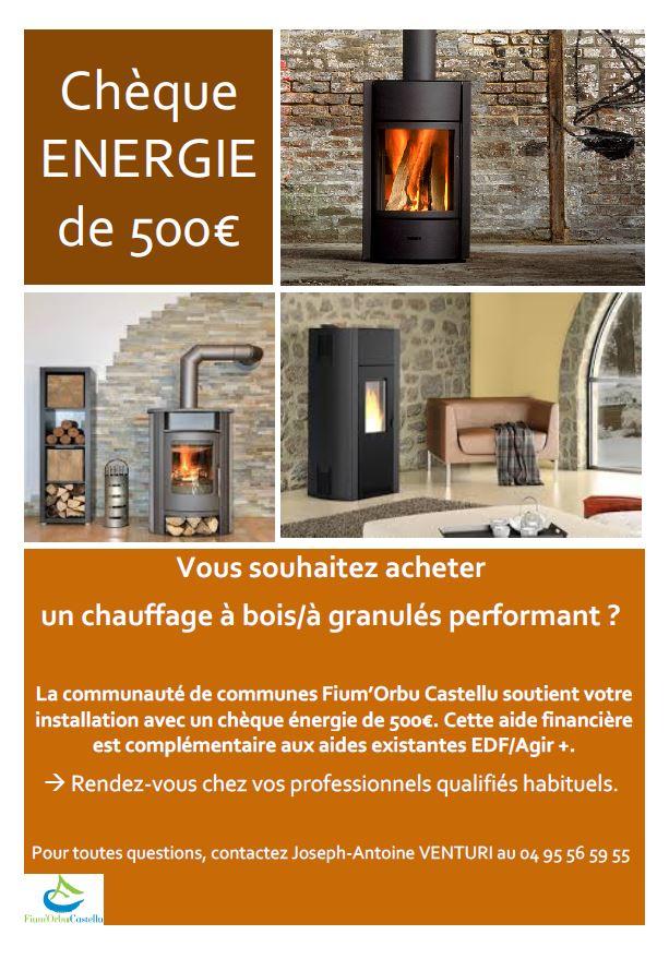 ch que nergie de 500 pour l 39 achat de chauffage bois prunelli di fium 39 orbu. Black Bedroom Furniture Sets. Home Design Ideas